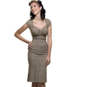 STOP STARING! Heather Plaid Wiggle Pinup Dress